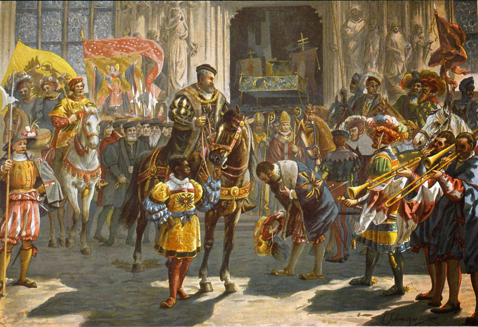 Holy Roman Emperor Charles V inspecting the German Landsknechts