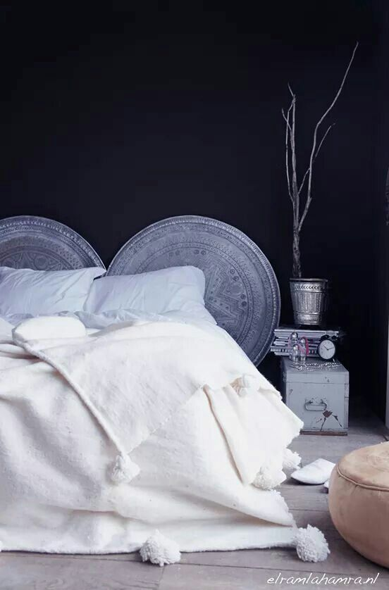 Cultural Pieces --- Trays as headboard