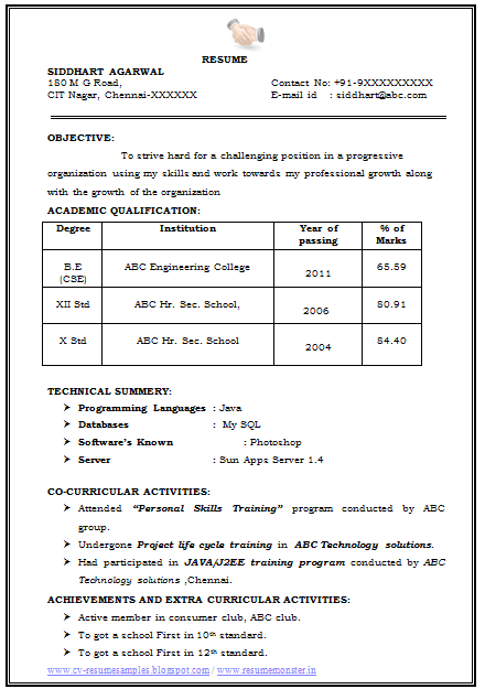 Sample Template for Fresher and Experience Professionals ...