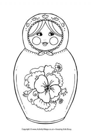 Matryoshka Doll Colouring Page