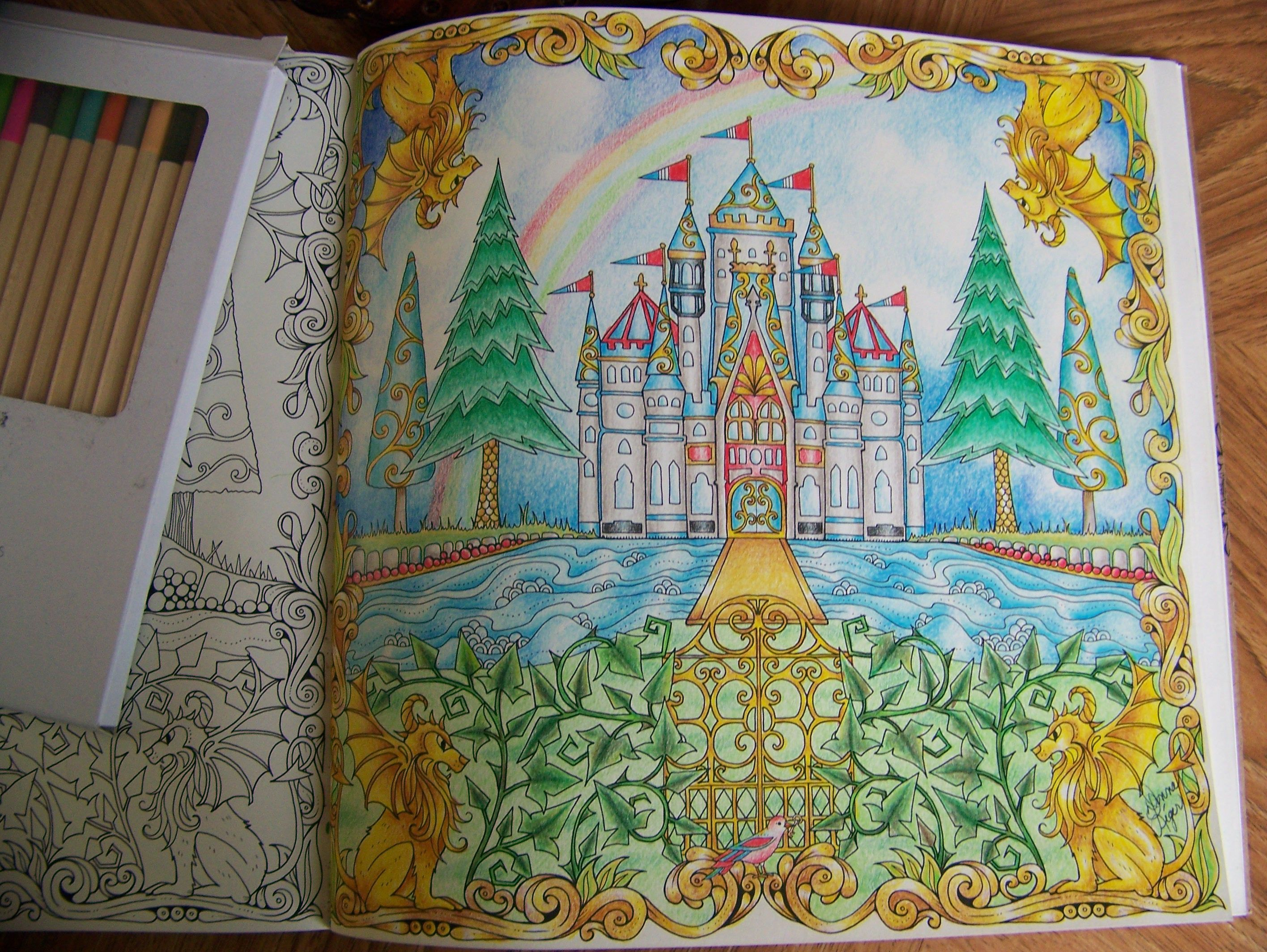 From The Enchanted Forest Johanna Basford Adult Coloring Book Castle Colored By Donna