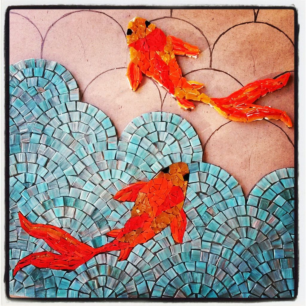 good Koi Mosaics Part - 13: Koi Fish Mosaic Coffee Table WIP 2014.