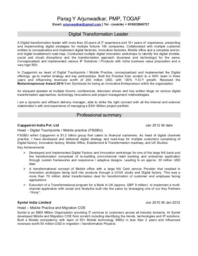 resume digital transformation leader cover letter marketing - pmp sample resume