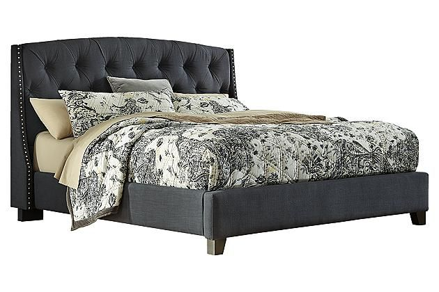Best Dark Gray Kasidon King Tufted Bed View 2 King 400 x 300