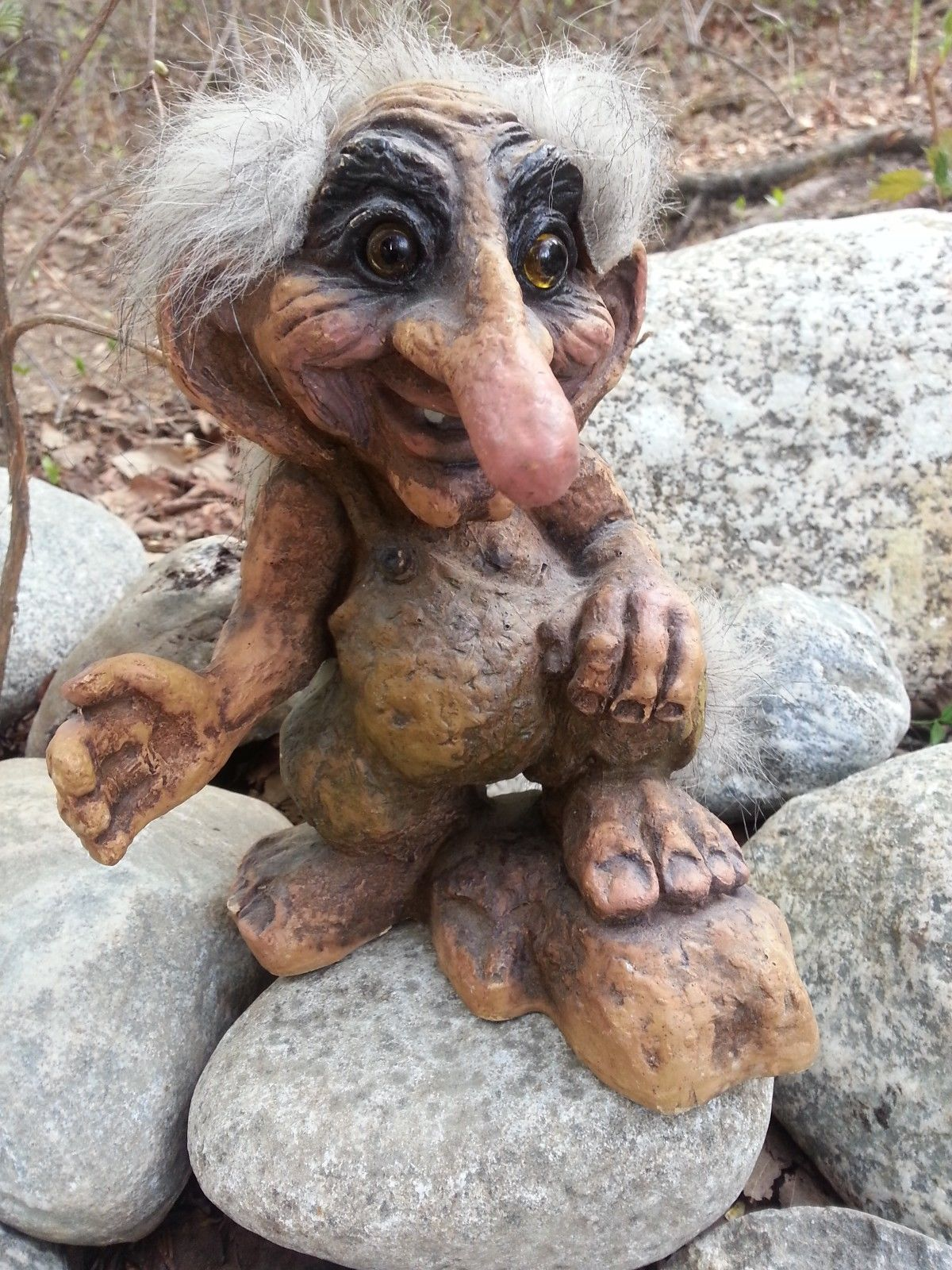 Norwegian Nyform Trolls Old Man With Foot On Rock Very Long Nose Big Ears Vntg Ebay Duendes Gnomos Noruega