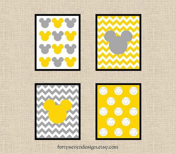 Set of 4 Mickey Mouse Yellow & Gray Chevron Printable Wall Art 8x10 ...