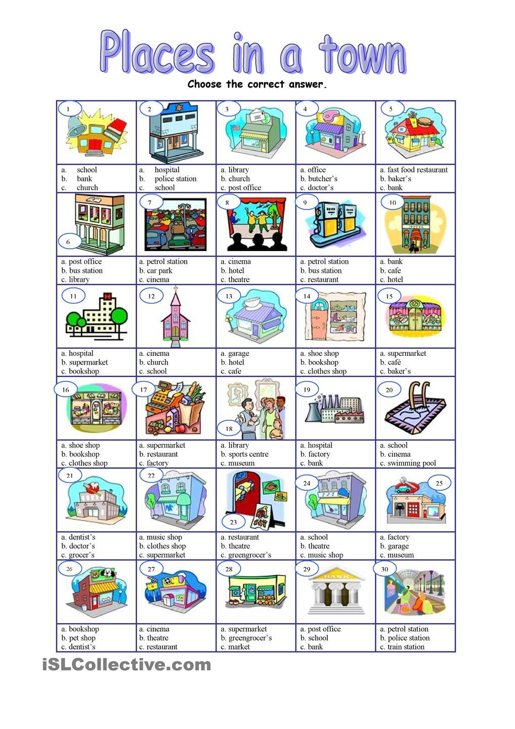 places in a town multiple esl worksheets of the day pinterest vocabulary activities. Black Bedroom Furniture Sets. Home Design Ideas