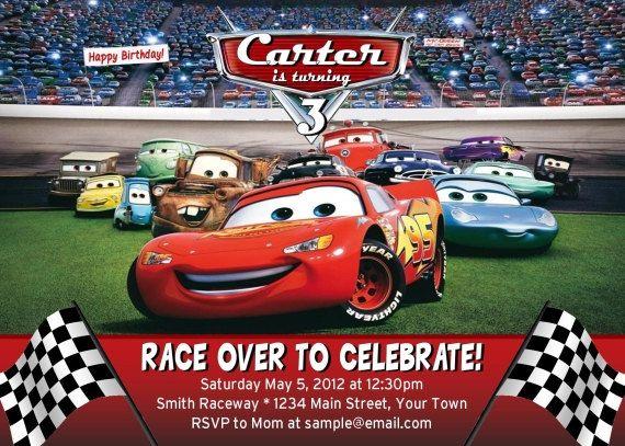 Disney Cars Birthday Invitation Lightning Mcqueen Digital File
