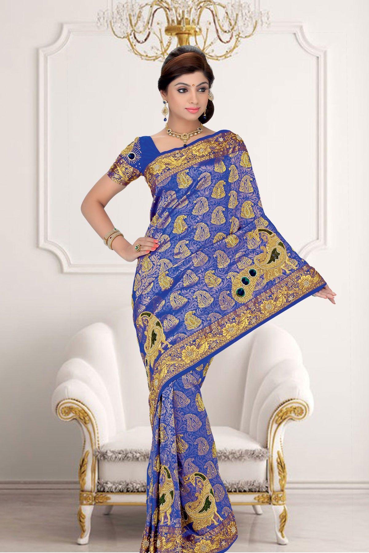 Trendy #Blue Zari weaved & Stone worked pure #silk saree in golden saree border & blue #Zari weaved & Stone worked pallu along with blue Zari weaved & Stone worked blouse in #golden border
