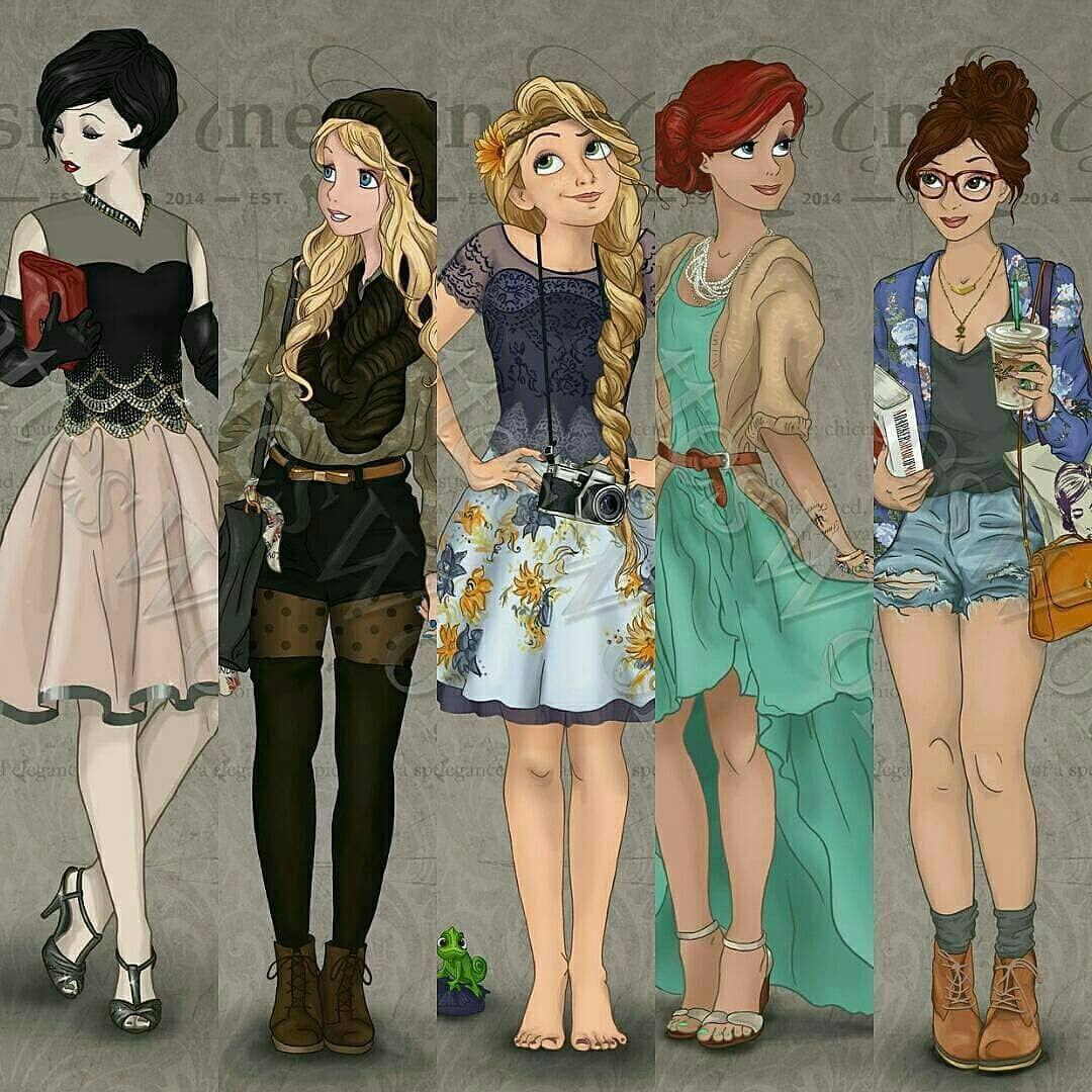 Картинки принцесс диснея в современной одежде