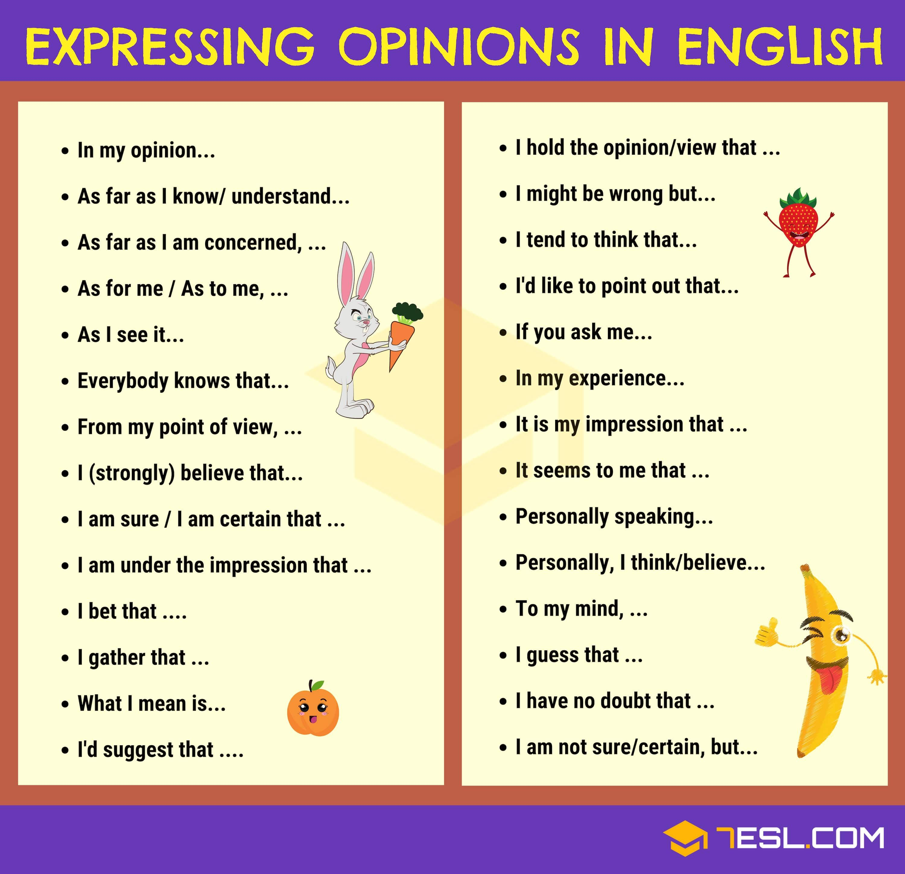 How To Effectively Express Your Opinions In English Learn English Words English Phrases Writing Words