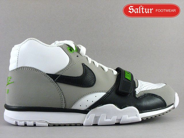 newest 6ea96 5ea24 317553-100 NIKE AIR TRAINER 1 MID PREMIUM WHITE BLACK GREY GREEN BO JACKSON  10.5