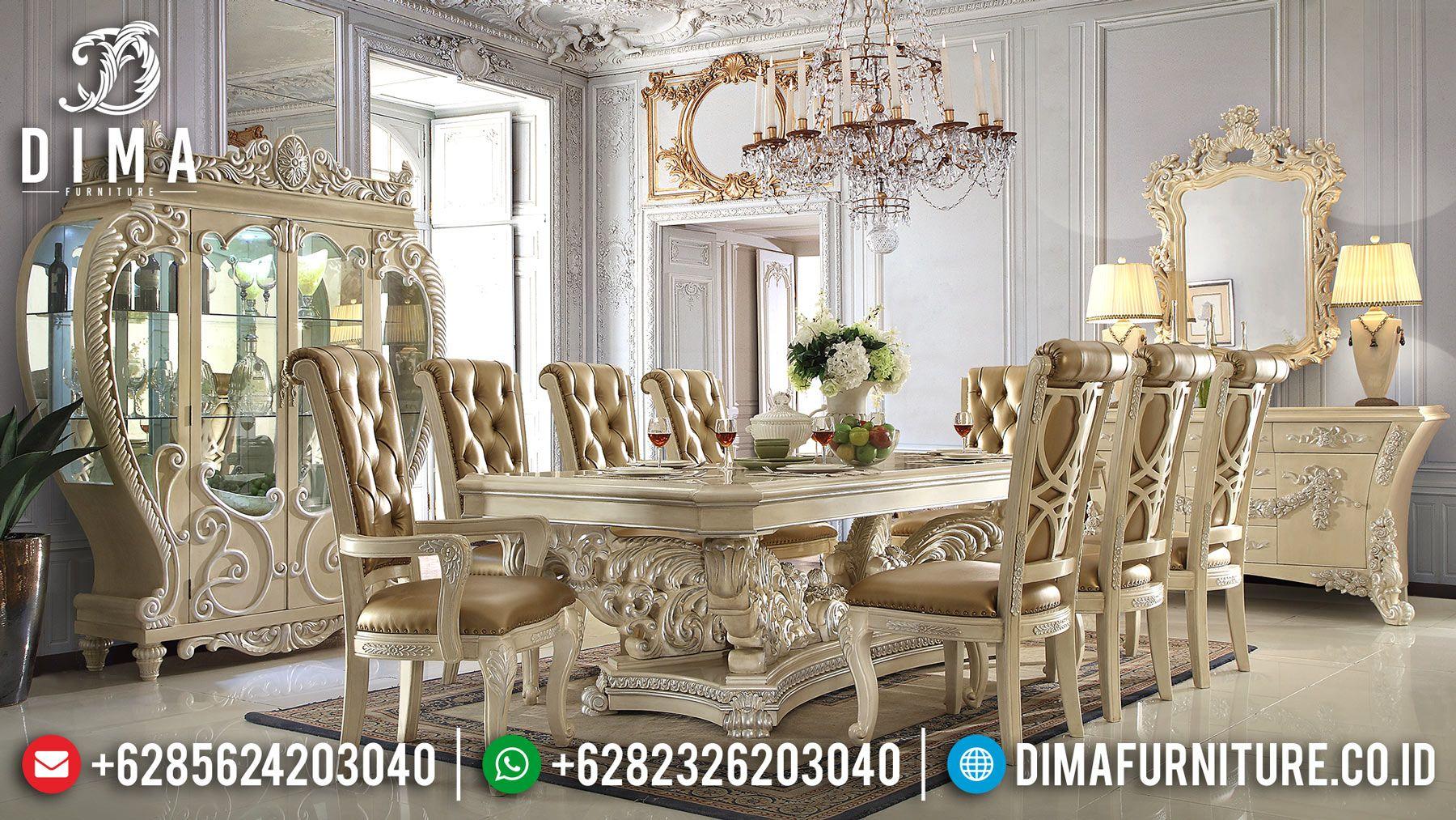 Meja Makan Mewah Klasik Mebel Jepara Terbaru Finishing Duco Ivory Silver Mm 0249 Meja Makan Mebel Interior