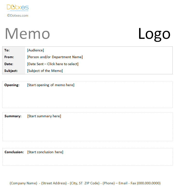 Trip Report Memo Template With A Table Format  Memo Templates