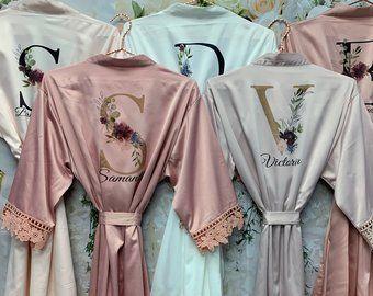 SALE! Bridesmaid Robes, Satin Lace Robes, Bridesmaid Gift, Bridal Party Robes, Wedding Gift, Personalized Robe, Bridesmaid Proposal