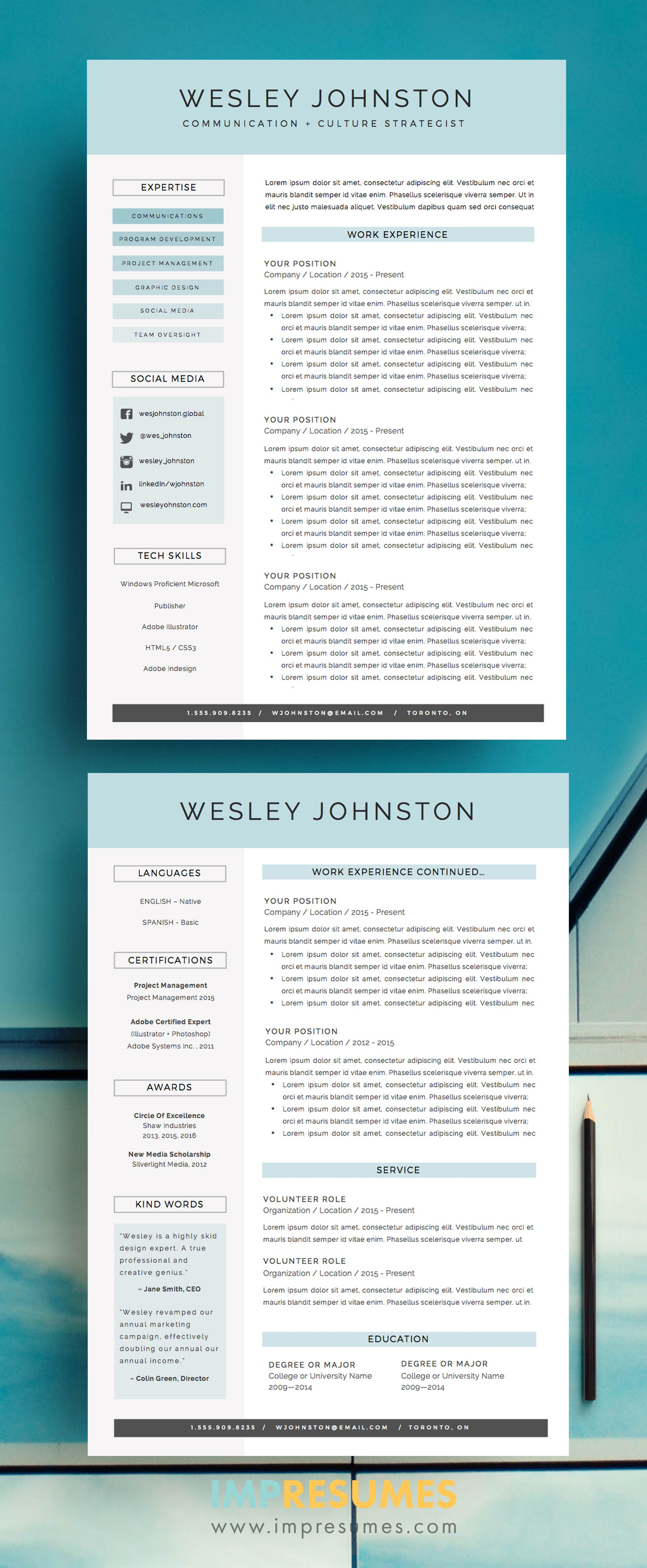 Resume / CV Template Package for MS Word | \'The Wesley\' | Pinterest