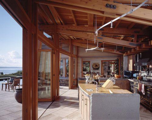 Indoor Outdoor Kitchen With A Major View Seattle Krannitz Gehl Architects Indoor Outdoor Kitchen Waterfront Homes Indoor Outdoor