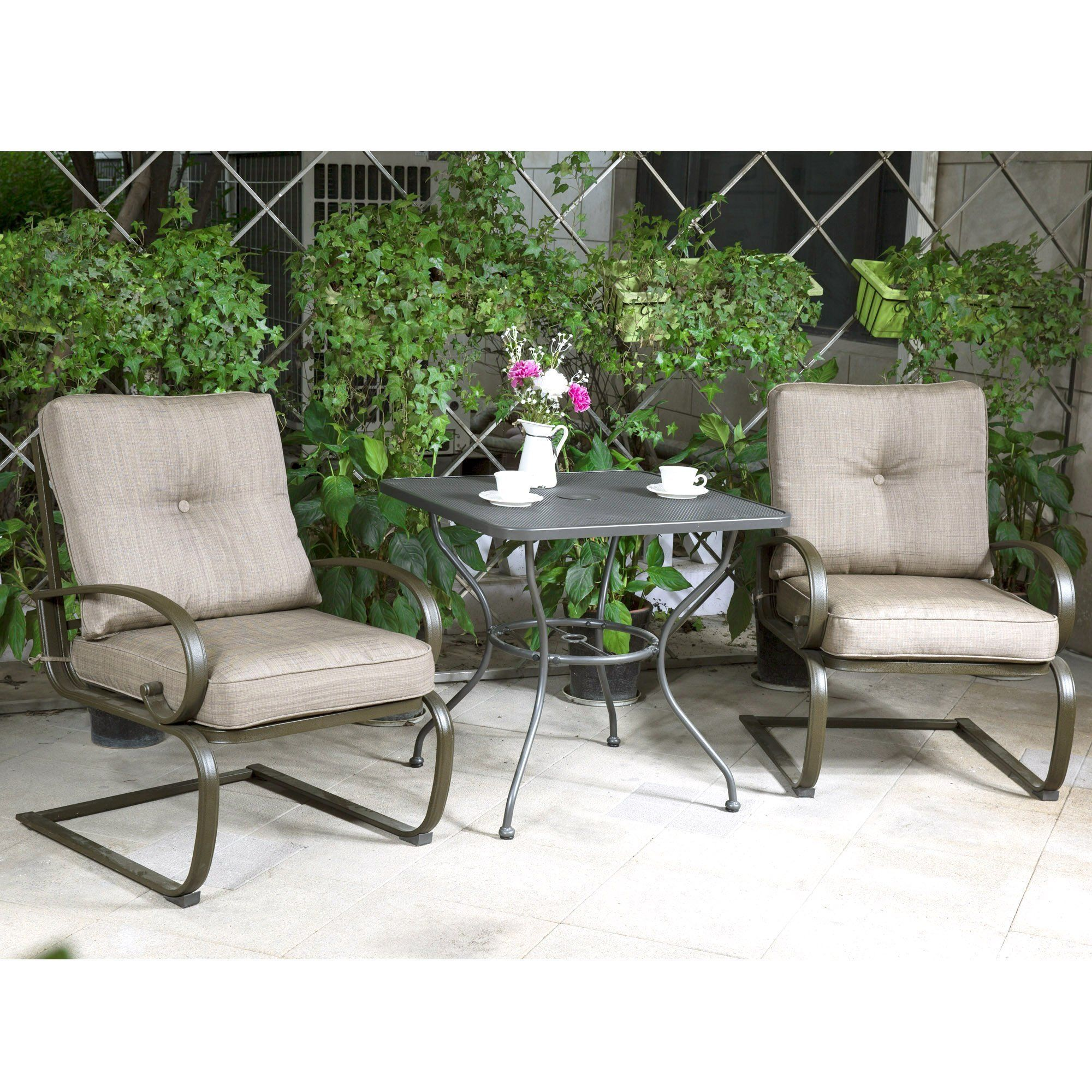 Outdoor pc bistro patio furniture wrought iron set inches