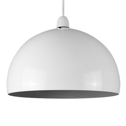 Kitchen Lighting Victoria: Modern Gloss White & Grey Metal Dome Ceiling Pendant Light
