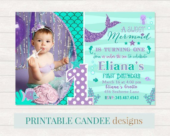 Mermaid 1st Birthday Invitation Invite Under The Sea Party Teal Purple