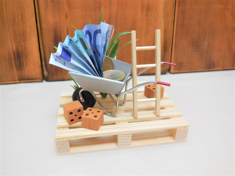 Mini Palette Hausbau Schubkarre Geldgeschenk Garten Gutschein Rente Geschenkbox Handwerker Einweihungsgeschenk Geschenk Ruhestand Mann Presents Gifts Diy