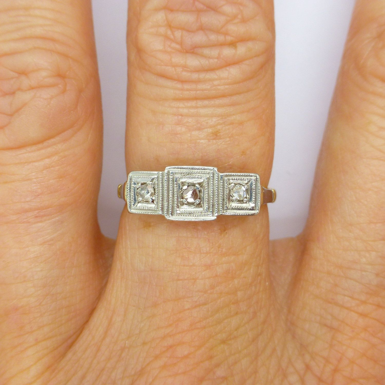 Antique Art Deco Engagement Ring 1920 S Diamond Trilogy Platinum