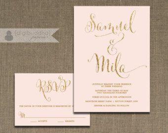 Blush Pink Gold Wedding Invitation Por Digibuddhapaperie