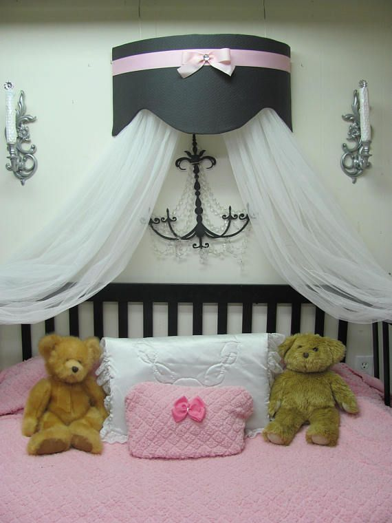Bed Canopy Crown Cornice Teester Swag Suzette Crib Gray Pink | Canopy | Pinterest | Canopy Cornice and Swag & Bed Canopy Crown Cornice Teester Swag Suzette Crib Gray Pink ...