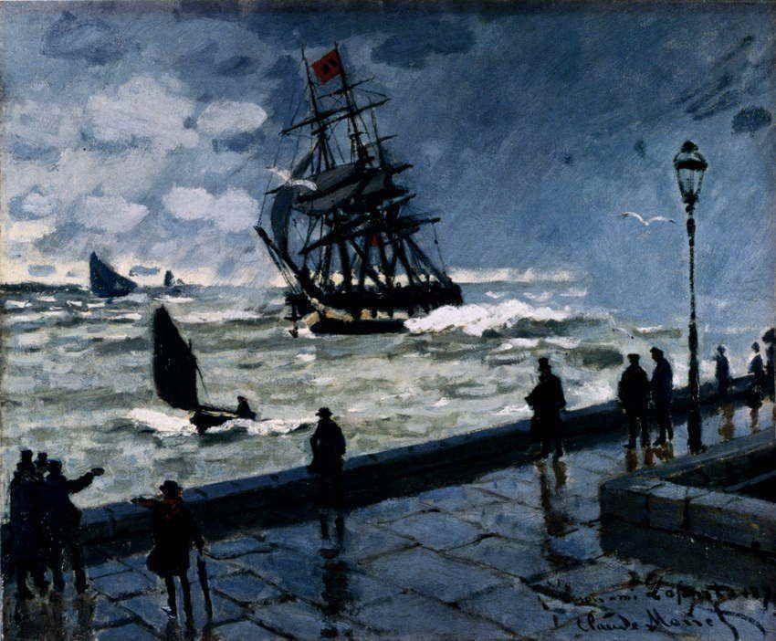 モネ ルアーブルの桟橋 悪天候 1870 モネ 風景の油絵 印象主義