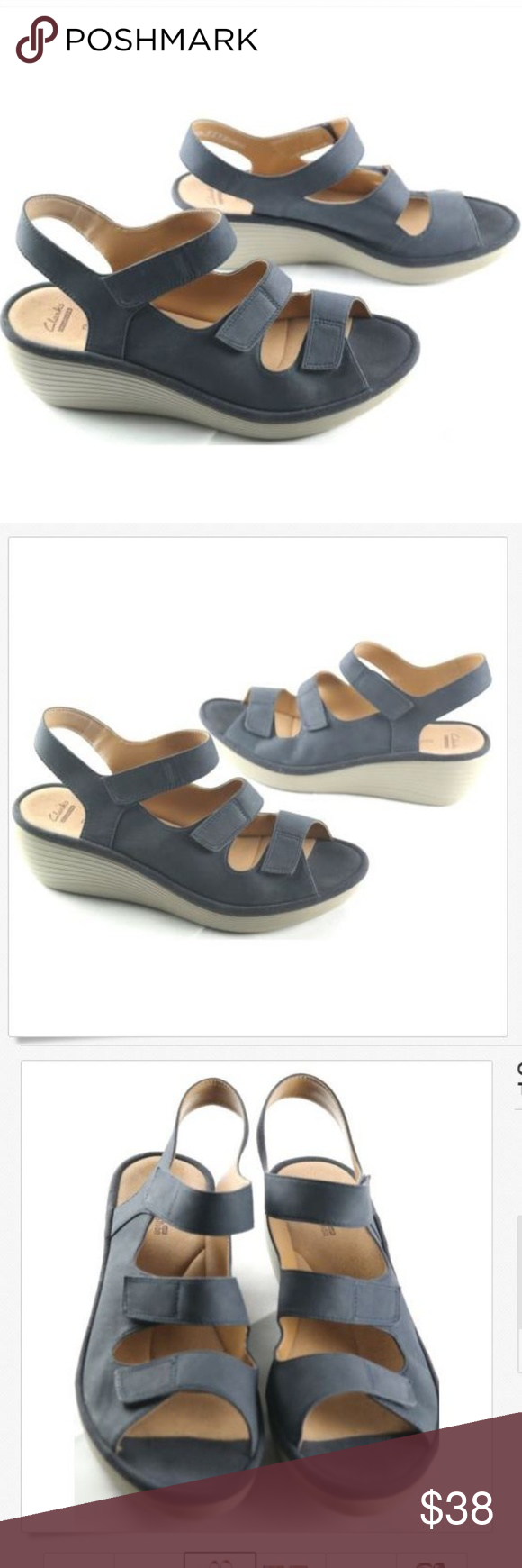 cd0be7f66b69 Clarks Reedly Juno Blue Nubuck Wedge Sandals Clarks Reedly Juno Wedge Sandals  Size 12 Womens Blue