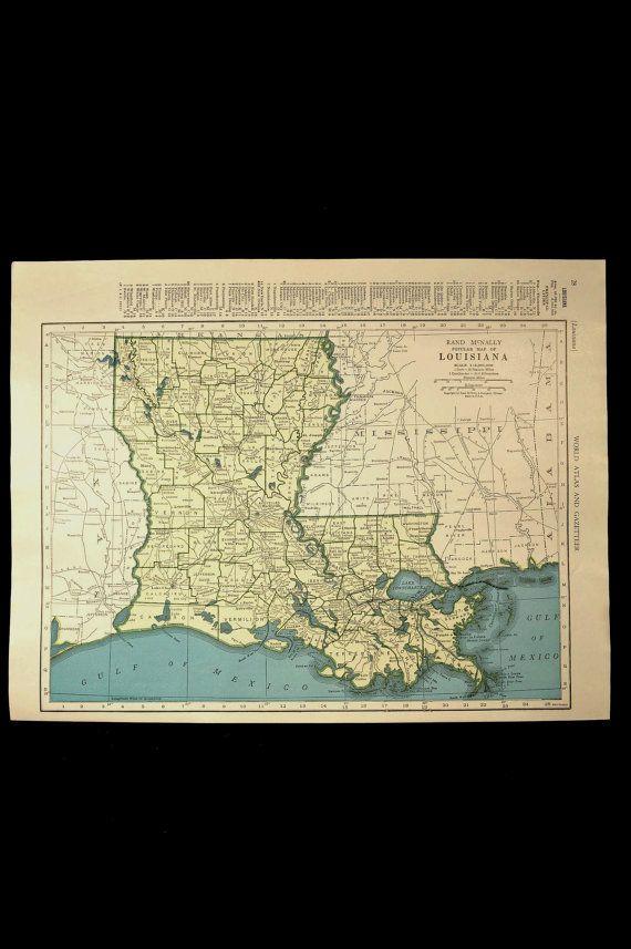 Vintage Map Louisiana State 1940s Original 1945