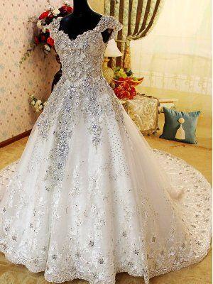 63cf99708e Free Shipping Romantic Diamonds Studded Cathedral Train White ...