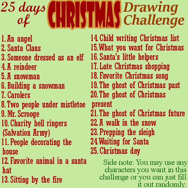 Christmas Challenge.25 Day Christmas Drawing Challenge By The Tabbycat Witch On