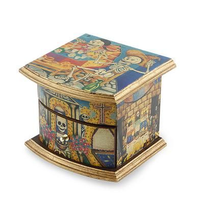 Unique Decoupage Multicolor Wood Jewelry Box, \u0027Celebrating