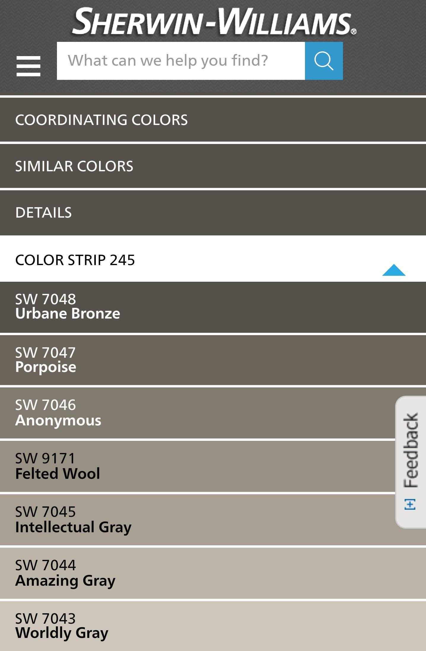 Sherwin Williams Urbane Bronze Color Strip Novocom Top