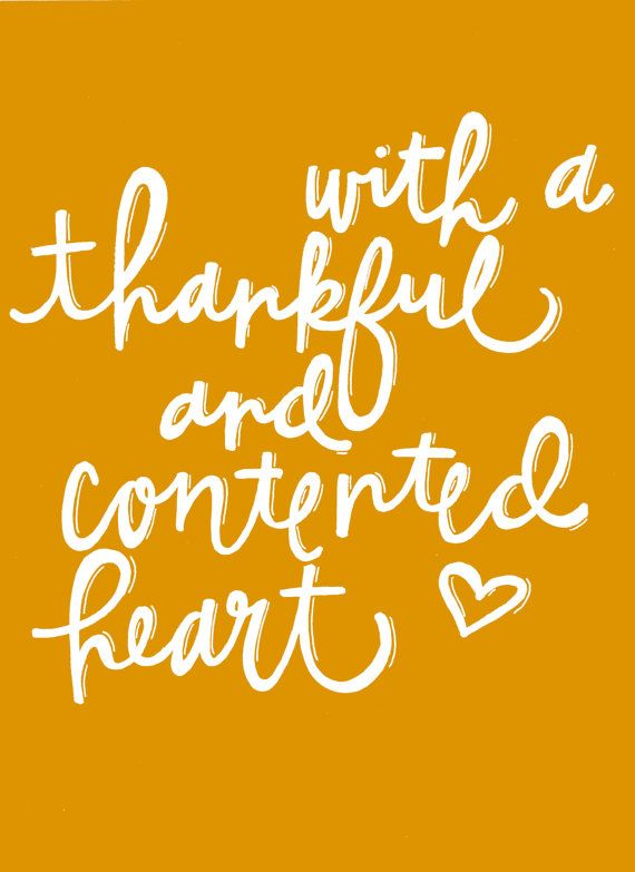 With A Thankful and Contented Heart / Holiday Print / Fall Wall ...
