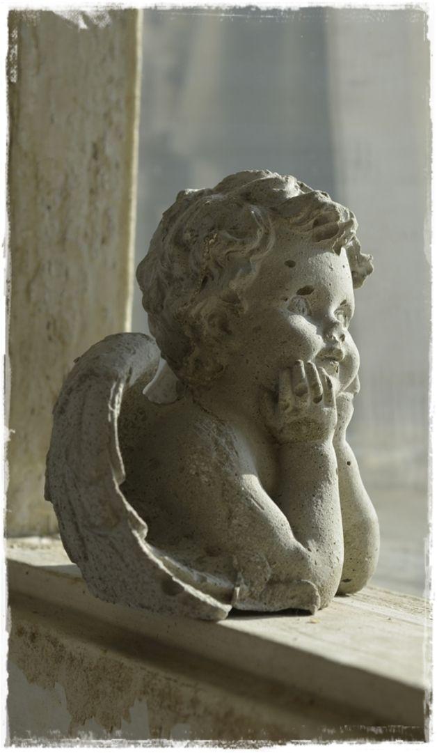 2 Engel Figuren Putte Stein Beton Deko Vintage Steine Engel Skulptur Figur