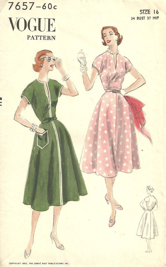 Vogue 7657 Vintage 50s Sewing Pattern // Dress Size 16 Bust 34 ...