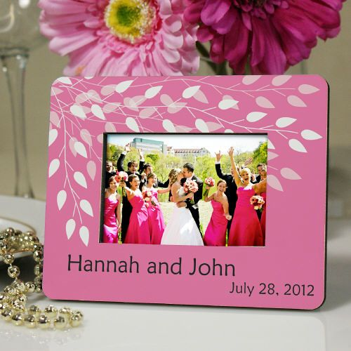 Personalized Wedding Leaves Place Card Holder comes in many colors & can be used for a photo later!