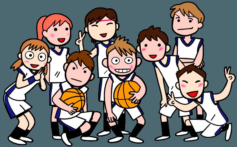 バスケットボール チームメイトとvサイン 集合写真ふう ゴゴンのイラスト素材kan Gogon S Magazine 2019 バスケットボール 写真 集合写真