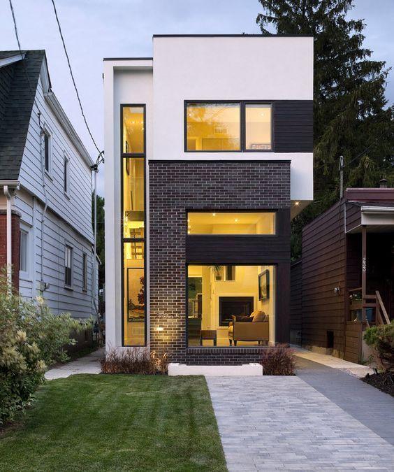 Planos de casa de dos pisos moderna, construcción en pequeño terreno ...