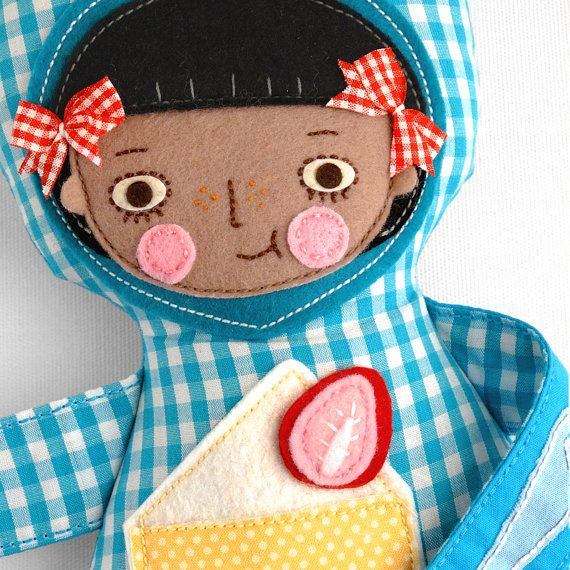 Cute black doll Unique handmade doll eating a cake by NoaShaked