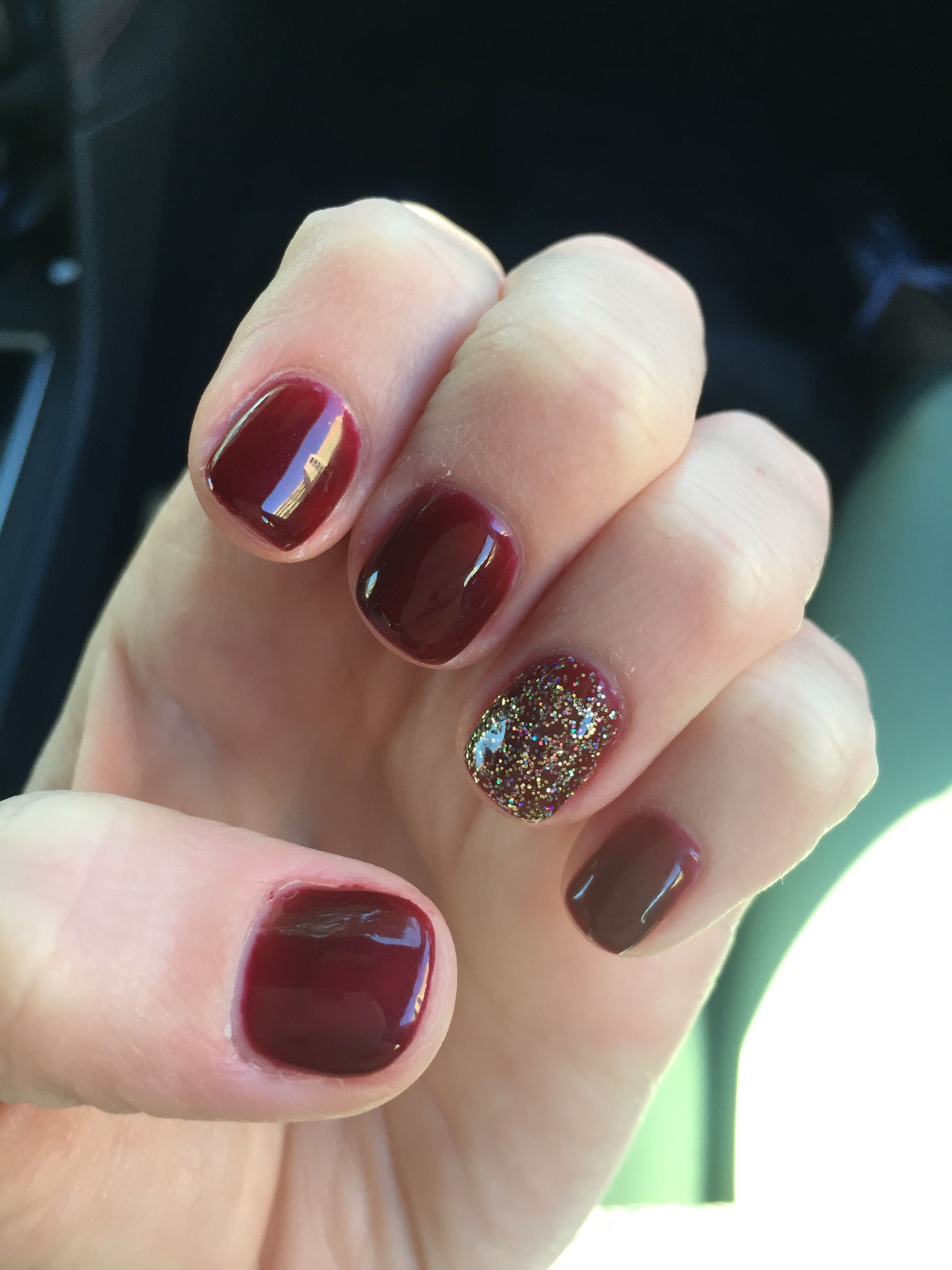 Dark red, burgundy nails. Gel nail polish with gold accent | Nails ...
