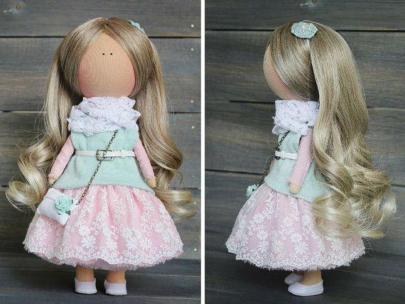 Decoración muñeca Rubio rosa verde vivero por AnnKirillartPlace