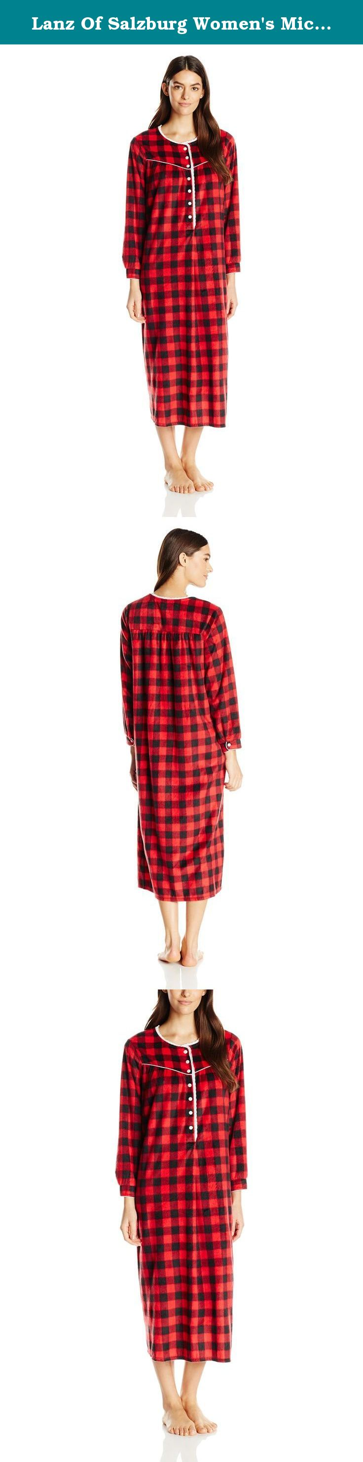 Red flannel nightgown  Lanz Of Salzburg Womenus Microfleece Long Nightgown RedPlaid