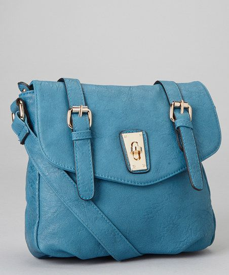 Teal Double-Buckle Faux Leather Messenger Bag