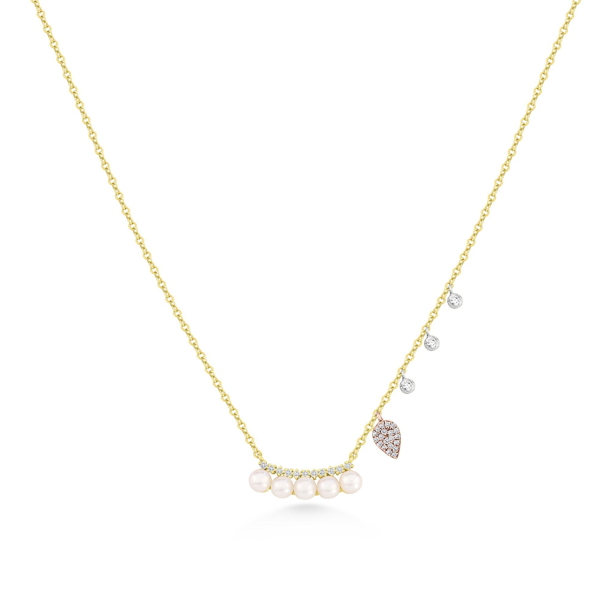 Yellow gold pearl necklace with rose gold charms and diamond bezels