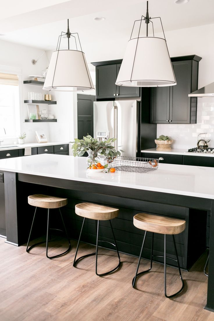 Black And White Kitchen Black Cabinets White Large Pendant Lights Industrial Bar Stools White Kitchen Decor Black Kitchen Decor Black Kitchen Cabinets