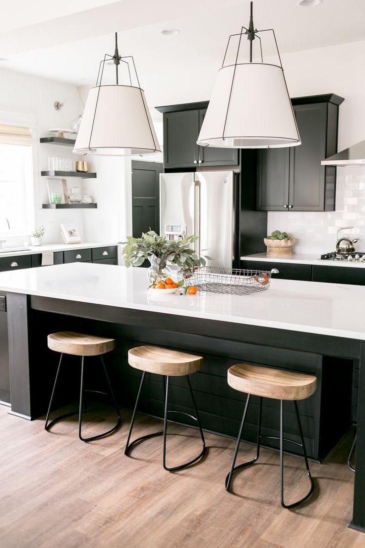Black And White Kitchen Black Cabinets White Large Pendant