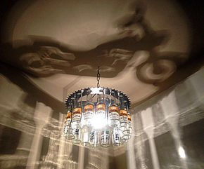 Motorcycle shadow Bottle Light chandelier, gift , Harley, motorcycle, sprocket, home decor, lighting, bar, dining,